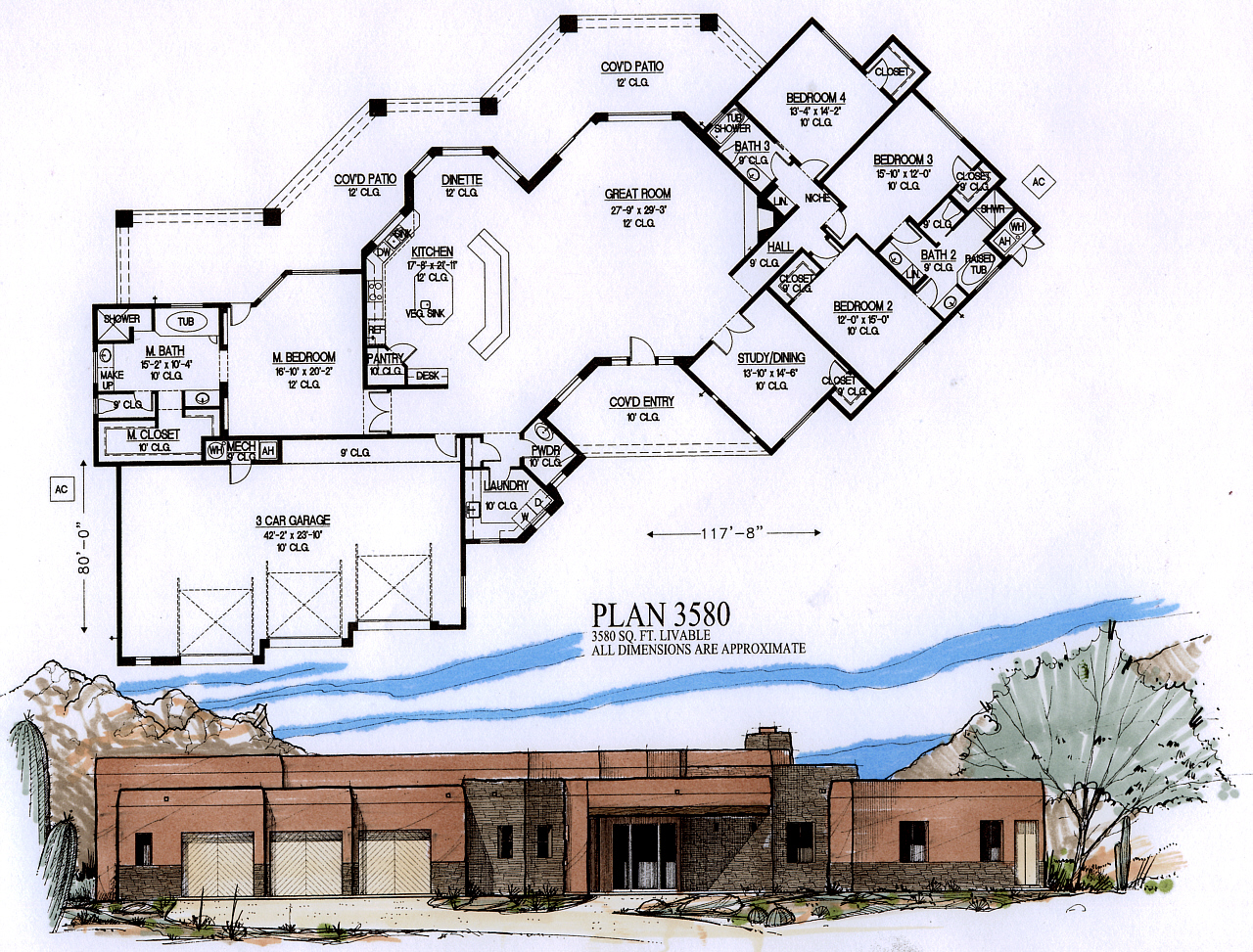 Home floor plans 3500 square feet for 3500 sq ft ranch house plans