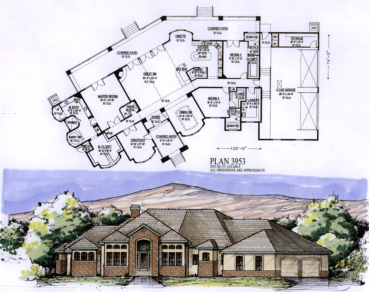 3500 to 4000 square feet for 3500 sq ft ranch house plans